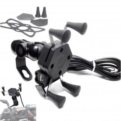 USB Şarjlı Gidon Bağlantılı Motosiklet Telefon Tutucu